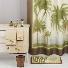 Palm Cove Shower Curtain Tropical Bathroom Bamboo Beige Bahama Beach Island