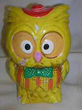 Vintage Paper Pulp Mache' Owl Bank Wise Old Owl Bank