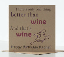 Drinking Birthday Card for a friend, Wine themed, personalised with name.