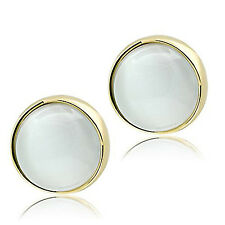 Stylish Synthetic Cat Eye Yellow Gold Plated Stud Earrings GL253