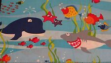ON SALE!!! Happy Sea Friends Enjoying Fabric Whales Happy On Blue Cotton 2 yards