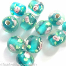 20 Green Lampwork Glass 10mm Round Beads
