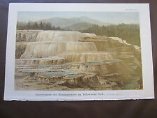 TRAVERTINE POOL OF MAMMOTH GEYSERS IN YELLOWSTONE 1800'S GERMAN CHROMOLITHOGRAPH