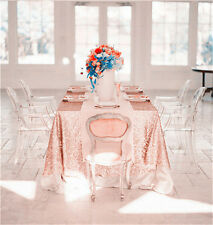 "6ft  90""*132"" Rose Gold Sequin Table Cloth"