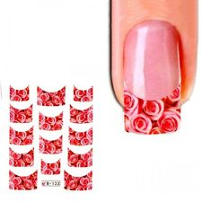 J370 NAGELSTICKER rote Rosen FRENCH STYLE watertransfer Fingernagel Nagel Nail A