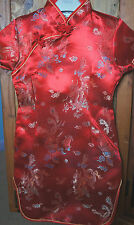 Girls Oriental Chinese Kimono Style Red Dragon Print Dress 8-10 yrs