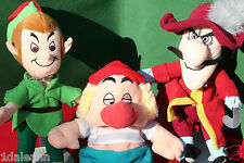 "PETER PAN + CAPTAIN HOOK + MR SMEE DISNEY STORE Plush Beanie 8"" Lot of 3"