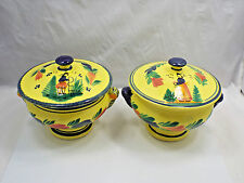 Quimper HB Henriot Soleil Yellow 2 Covered Casserole Dish Bowls, Plats Du Chef