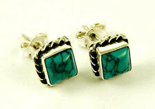 **BEAUTIFUL 925 STERLING SILVER SQUARE CABOCHON TURQUOISE STUD EARRINGS**