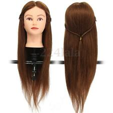 "26"" Cosmetology Training 100% Real Human Hair Long Hairdressing Head Mannequin"