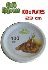 Bulk 100 x Cafe Express Plastic Disposable Dinner Plates 23cm White Party New