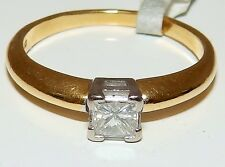 FINE 18CT YELLOW GOLD 0.3 CARAT SINGLE PRINCESS DIAMOND  ENGAGEMENT RING