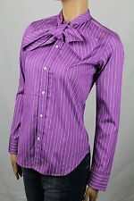 Ralph Lauren PURPLE NAVY BLUE WHITE SLIM FIT BLOUSE SHIRT BOW TIE NWT 8