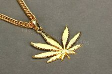 24k Gold WEED Marijuana Leaf Pot Pendant Necklace Snake Chain Iced Out Hip Hop