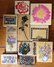 Lot 12 Flower Floral Garden Rubber Stamps Stampington Hero Arts All Night Media
