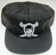 NFL Oakland Raiders Black Flat Bill Zip Strap Back Hat By Mitchell & Ness