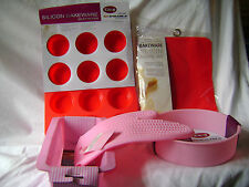 NEW SILICONE ROUND SPONGE, LOAF, MAT, MUFFIN & MITT 5 SET PINK & RED