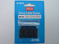 Peco O-16.5 Great Little Trains OR-55 Coach Window Blanks - Pack of 8.