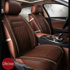 New Luxury PU Leather Car Full Set Seat Covers Breathable Seat Protector Coffee