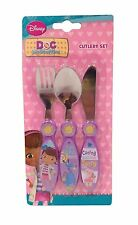 Disney DOC MCSTUFFINS Sunny Days 3 Piece Metal CUTLERY SET (Girl Christmas/Gift)