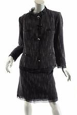 ROBERTA SCARPA Black/White Tweed Wool Blend Skirt-Suit w/'Ring' Buttons-NWT-US16