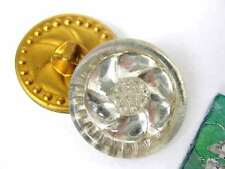 Vintage Buttons Glass Flower Art Deco Mirror Shanks Germany 1940s but0145pc2