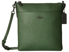 NWT Coach 52348 Dark Grass Green Embossed Textured Leather North South Swingpack