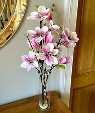 ARTIFICIAL PINK SILK MAGNOLIA  + PUSSY WILLOW FLOWER ARRANGEMENT IN GLASS VASE