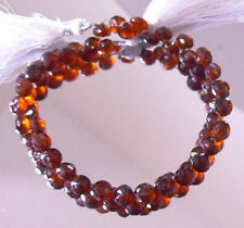 NATURAL TRANSLUCENT FACETED GEM GRADE HESSONITE GARNET ONION  BRIOLETTE BEADS 8""