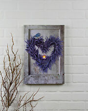 Lavendar Heart Wreath Radiance Lighted Canvas 72295 NEW battery light wall art