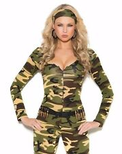 Sexy Soldier Costume Medium Women Halloween Army Camouflage Military Romper Camo