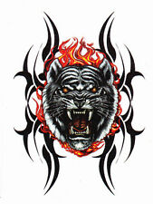 BLACK TIGER TEMP TATTOO FACE FIRE REMOVABLE TEMPORARY BODY ART NEW