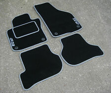 Car Mats in Black with Grey Trim to fit VW Golf MK5 LHD (2004-2009) + R32 Logos