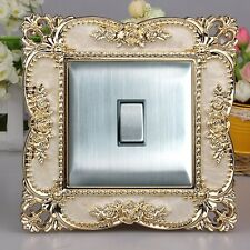 Luxurious Embossment Acrylic Cream Surface & Gold Flowers Light Switch Surround