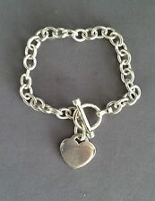 Round Rolo Link Bracelet with Heart Charm Genuine .925 sterling silver 7.5in