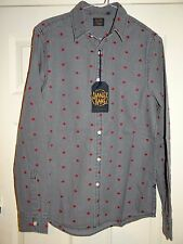 £39 STANLEY KANE DESIGNER GREY/RED SPOTTED SMART CASUAL DENIM SHIRT M