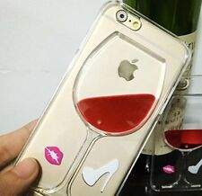 For iPhone 6 / 6S - TPU RUBBER GUMMY CLEAR SKIN CASE COVER RED WINE GLASS LIQUID
