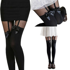 Women Over Knee Stockings Pantyhose Tattoo Mock Bow Suspender Sheer Tights Socks