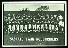 1961 TOPPS CFL FOOTBALL #101 SASKATCHEWAN ROUGHRIDERS TEAM CARD EX COND FRE SHIP