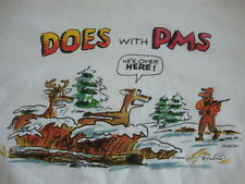 """Does With PMS Funny Winter Deer Hunting Cartoon White T Shirt Men's Size M"