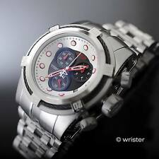 Invicta Bolt Zeus Reserve Swiss Chrono Silver Tone SS Red Accent 53mm Mens Watch