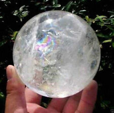 40MM NATURAL RAINBOW CLEAR QUARTZ CRYSTAL SPHERE BALL HEALING GEMSTONE