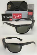RAY BAN WRAP RB 4089 BALORAMA 601/58 62mm BLACK FRAME GREEN POLARIZED