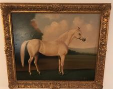 Antique Horse Portrait on Canvas Giclee Art Listed Artist P.English 19C.Framed