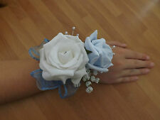 Wedding flowers bridesmaids wrist corsage white/baby blue roses,diamante pearls