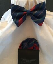 Boys Bow Tie And Faux Handkerchief Blue Striped With Red Green Adjustable Close