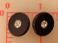 "2 vintage German black glass shank buttons rhinestone center 18mm 3/4"" #991"
