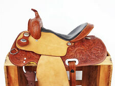 "15"" ROUGH OUT WESTERN LEATHER COWBOY HORSE PLEASURE TRAIL RANCH SADDLE TACK"
