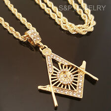 """GOLD FINISH ICED OUT MASONIC MASON G COMPASS PENDENT & 30"""" ROPE CHAIN NECKLACE"""
