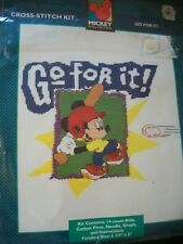 "Mickey Unlimited ""Go For It!"" Cross Stitch Kit Size 6 3/4"" x 8"""